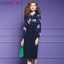 TESSCARA נשים סתיו אלגנטי עיפרון שמלת Festa נקבה משרד מסיבת גלימה באיכות גבוהה אימפריה מותן מעצב בציר Vestidos