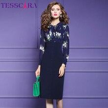 TESSCARA 女性秋エレガントなペンシルドレスフェスタ女性オフィスパーティーローブ高品質帝国ウエストデザイナーヴィンテージ Vestidos