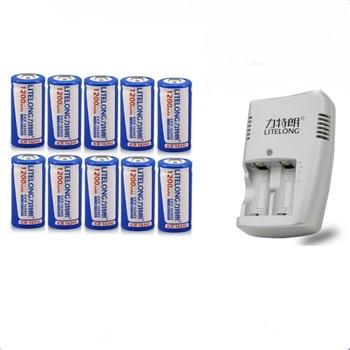 10PCS ICR16340 CR123A CR123 CR 123 123A CR17345 17345 1200 mAh 3.7 V Batteria Al Litio+1PCS charger