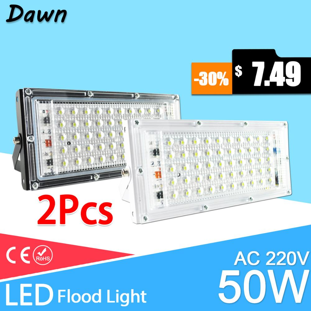 2pcs LED Flood Light 50W Floodlight Street IP65 Waterproof Outdoor Wall Reflector Lighting AC220V 240V Garden Spotlights