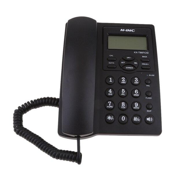Landline Phone, Corded Desktop Telephone, Caller ID Display/Volume Adjustable for Home/Office Black