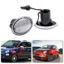 2 adet şeffaf Lens ön Amber LED yan işaretleyici işık Fiat 4S 500 MCA MY201 3P NUOVA yüksek kaliteli araba ışıkları