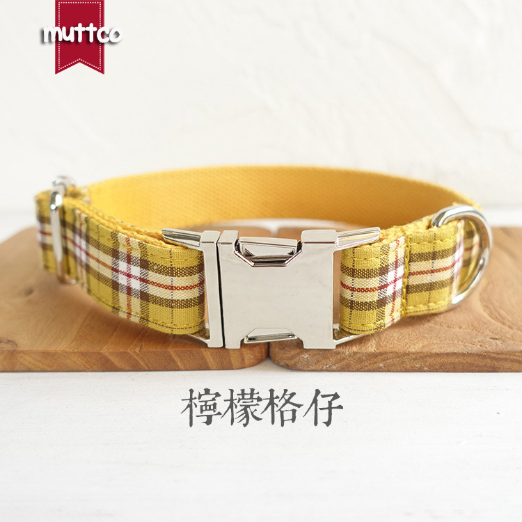 Muttco Pet Supplies Laser Lettering Cloth Neck Ring Anti Lost Collar Dog Plaid Bandana Udc-057