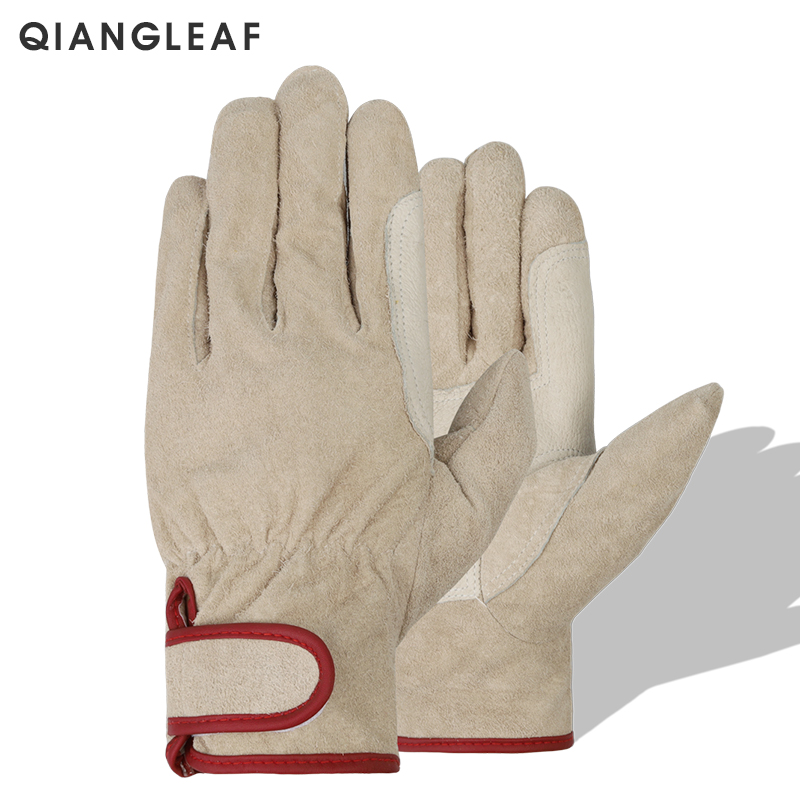 QIANGLEAF Brand New Neutral Pig Skin Work Safety Gloves Red Gardening Household Handling Gloves Free Shipping Hot Sale 527RM