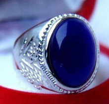 0x Tibet silver men women blue stone ring 6# 7# 8# 9# 10# 11#(China)