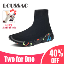 BOUSSAC 35-47 Women Men Knit Upper Breathable Sport Shoes Sock Boots Woman Chunky Sneakers High Top Running For