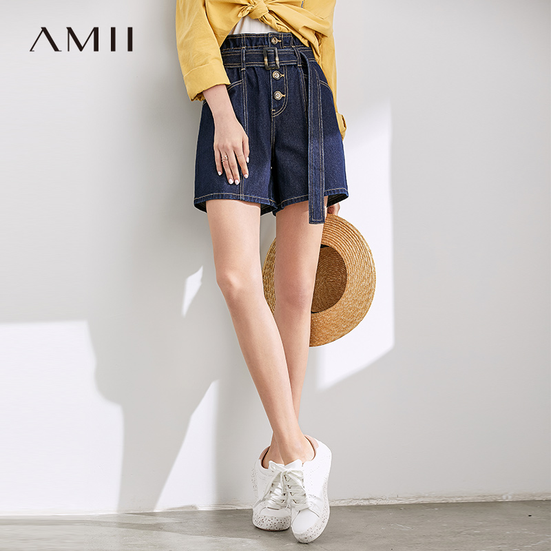 Amii Minimalist Denim Short Pants Autumn Women Loose High Waist With Belt Female Shorts 11970334