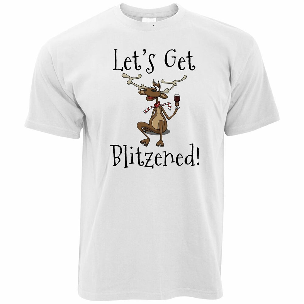 Christmas t shirt Lets Get Blitzened X-mas Funny Drinking tshirt tshirts T-SHIRT