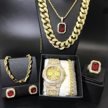 Hip Hop Men Cuban Crystal Miami Necklace Luxury Men Gold Watch & Necklace & Braclete & Ring & Earrings Combo Set Ice Out Cuban