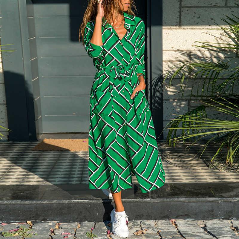 2020 אופנה חדשה פסים ליידי שמלת חולצה ארוך שרוול תורו למטה צווארון מזדמן שמלות כיסי תחבושת אלגנטי Midi שמלת חלוק