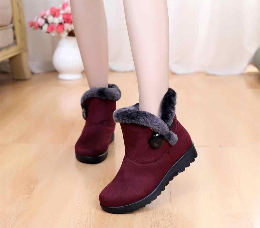 Kar Botları Kadın Zip Kış Bayanlar Sıcak Kürk Süet Kama bileğe kadar bot Kadın moda rahat ayakkabılar Konfor Ayakkabı Artı Boyutu st480