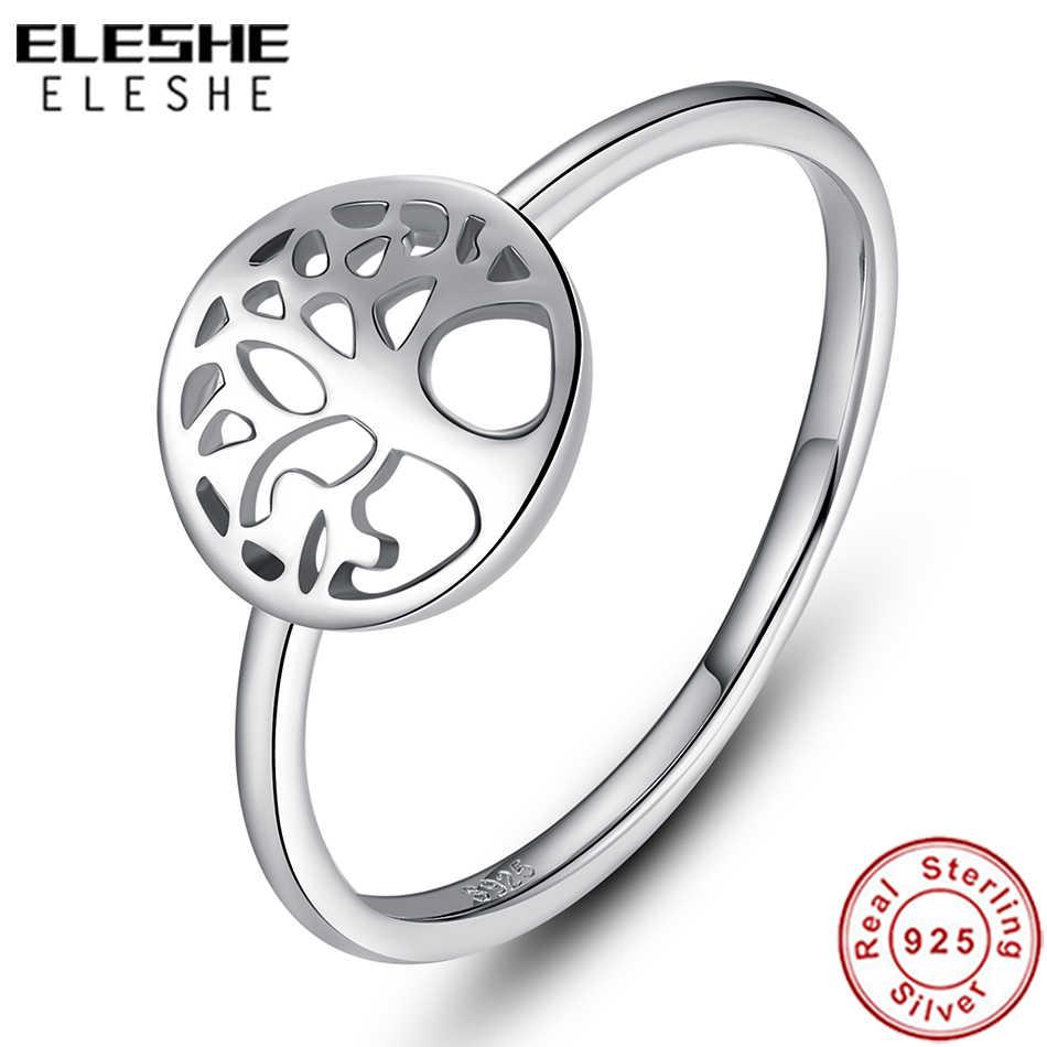 ELESHE 2019 ใหม่แฟชั่น 925 เงินแท้ Tree of Life แหวนสำหรับเครื่องประดับงานแต่งงานของผู้หญิงวันคริสต์มาสของขวัญ