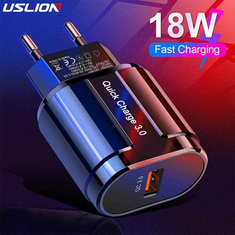 USLION carga rápida QC 3,0 USB cargador de EE. UU. Y Europa Universal del teléfono móvil cargador de pared adaptador de carga rápida para iPhone Samsung Xiaomi