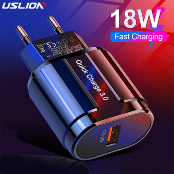 USLION cargador rápido QC 3,0 USB US EU cargador Universal de teléfono móvil adaptador de carga rápida de pared para iPhone Samsung Xiaomi