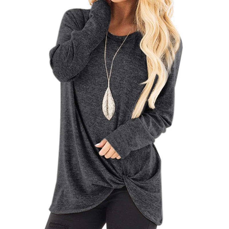 2020 New Spring Women's Long Sleeve Crewneck Pullovers Solid Color Casual Tunics Tops Blouses Twisted For Winter
