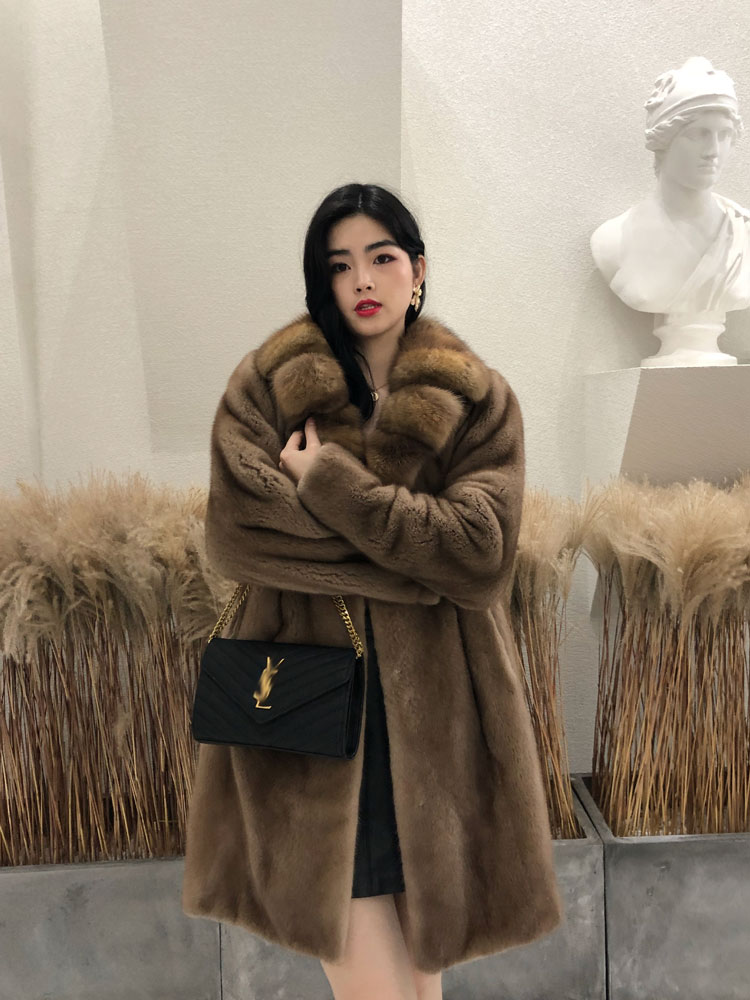 2019 new imported fur coat High-end real mink purple velvet women Plus size YL050