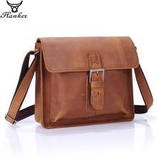 Flanker crazy horse leather mens shoulder crossbody bags vintage hasp messenger bag with cell phone pocket high quality man