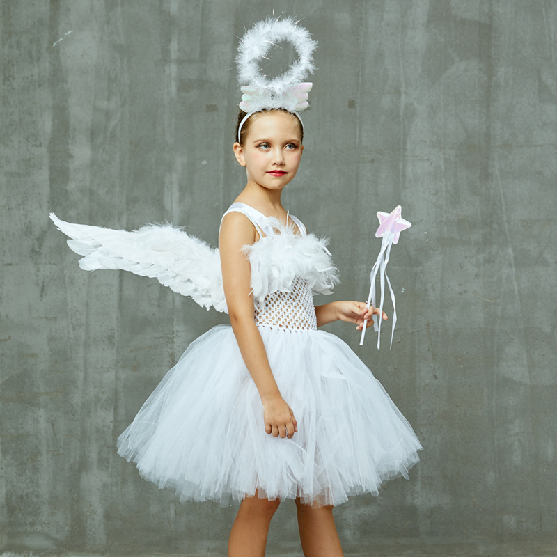 Guardian Angel Kids Halloween Costume White Feather Angel Girls Tutu Dress with Wings & Halo Christmas Nativity Gabriel Clothes (17)