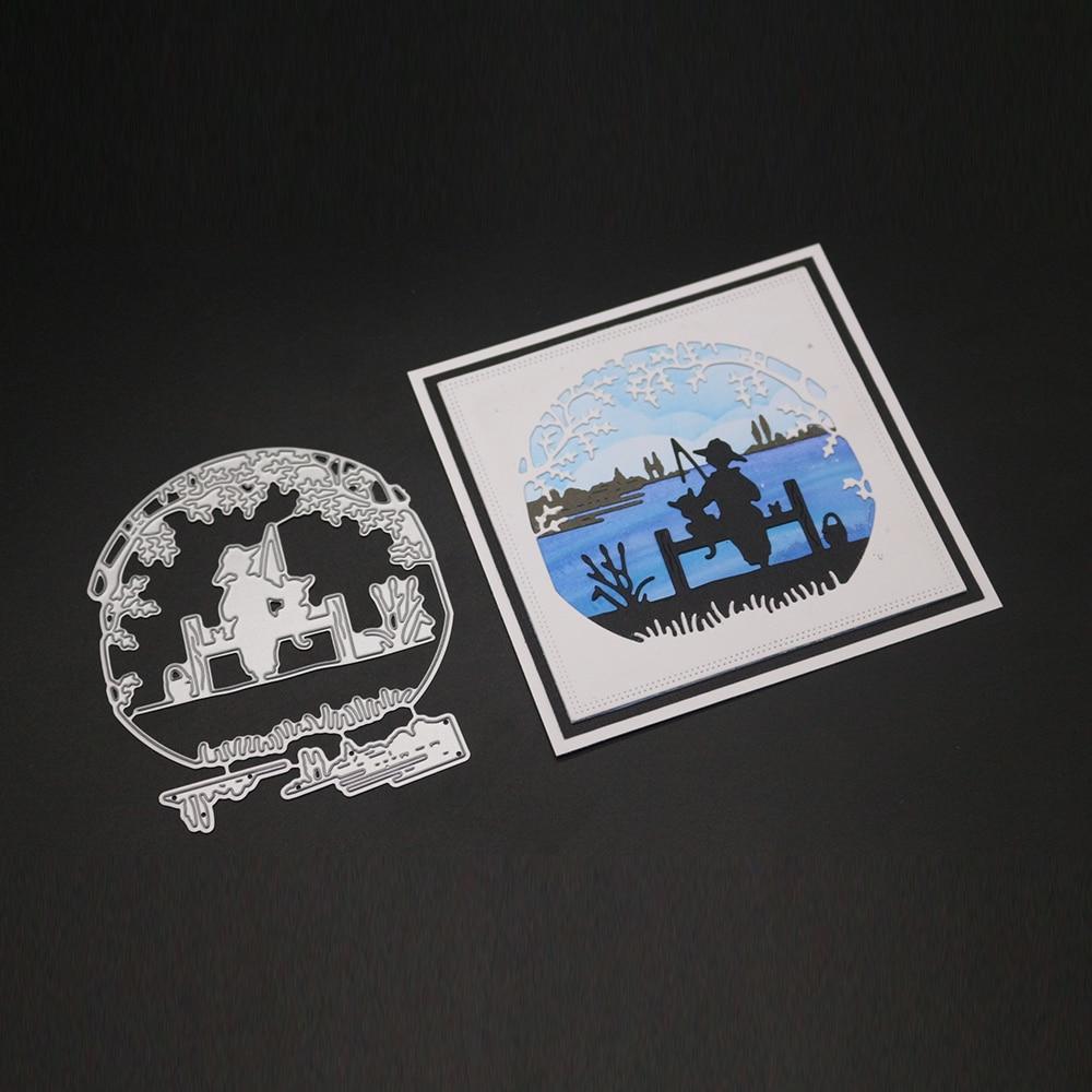 Hemere 8 5 x10CM fishing Metal Cutting Dies Stencils for DIY Scrapbooking Album Stamp Paper Card Embossing in Cutting Dies from Home Garden