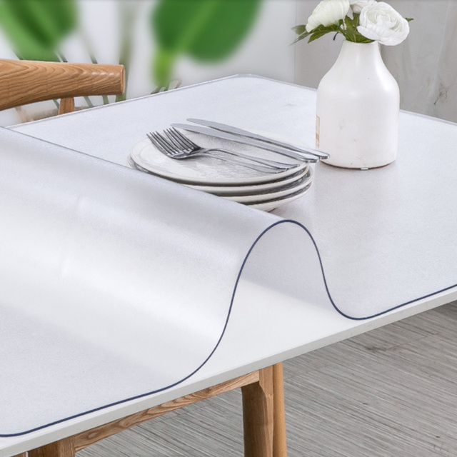 90x130cm Wipe Clean Tablecloth Waterproof Transparent Table Protector Cover 2mm