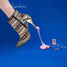 Marka różowe palmy buty damskie zimowe buty złote cekinowe tkaniny wysokie obcasy botki dla kobiet szpiczasty nosek moda kobiet buty