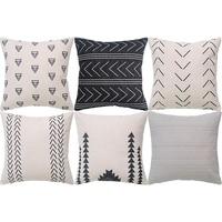 Capa de almofada geométrica conjunto de 6 capa de almofada quadrada de sofá de algodão decorativo  45x45 cm Fronha Casa e Jardim -
