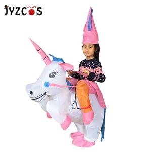 Image 5 - JYZCOS Costume licorne gonflable pour adultes et enfants, Costumes dhalloween arc en ciel, pour femmes et hommes, mascotte de carnaval, purine, Cosplay de noël