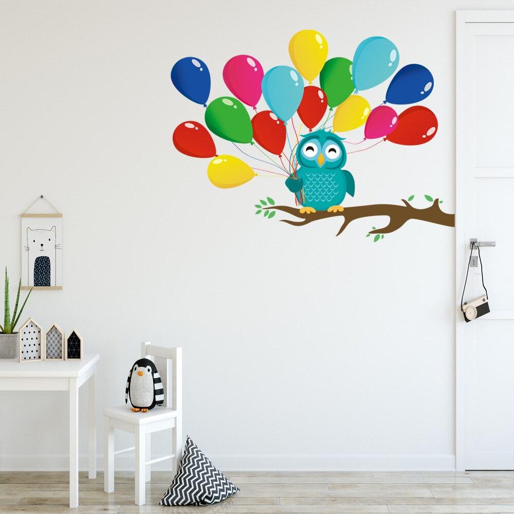 Cartoon Tree Branch Owl Balloon Wall Sticker Kids Rooms  Bedroom Decoration Mural Door Art Decals Nursery Stickers Wallpaper