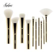 Sylyne набор кистей для макияжа 10 шт. высокое качество металлическая ручка Золотой мягкий набор кистей для макияжа инструменты