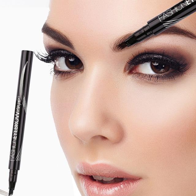 LULAA Microblading Liquid  Eyebrow Pencil 4 Fork Tips Waterproof Brown Eyebrow Tattoo Pen Long-lasting Eye Brow Makeup TSLM2 4