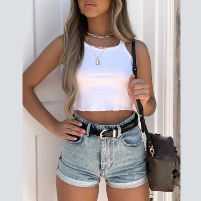 New sexy sleeveless crop top casual solid color tight-fitting tops women nine-point top halter vest camisole short T-shirt 2021 4