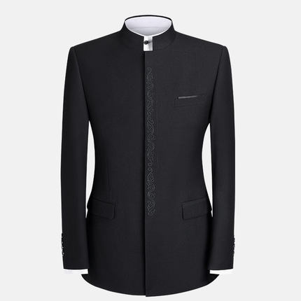 Spring Autumn Men Chinese Tunic Suits Men's Youth Slim Business Casual Black Blazer Stand Collar Wedding Dress Jacket Tang Suit