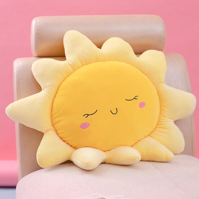 1Pc Sleepy Sun Pink Blue Clouds Pillows Elastic Plush Ultra Soft Stuffed Throw Pillows For Babies Children Cot Car Decor Props 1