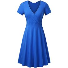 Frauen Kleid Kurzarm Frau Kleid Kreuz V- Neck Kleider Vintage Elegante frauen Sommer Sommerkleid Vestidos Mujer Verano