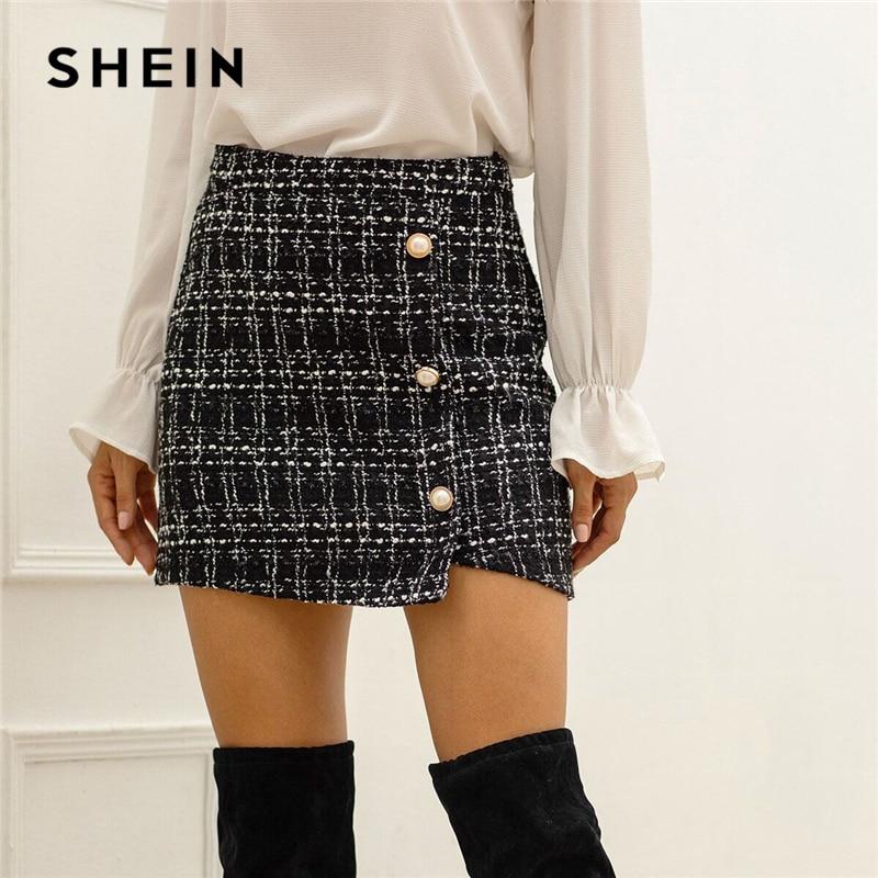 SHEIN Black Plaid Tweed Pearls Button Front Wrap Pencil Skirt Women Bottoms Autumn Streetwear Ladies Bodycon Casual Mini Skirts