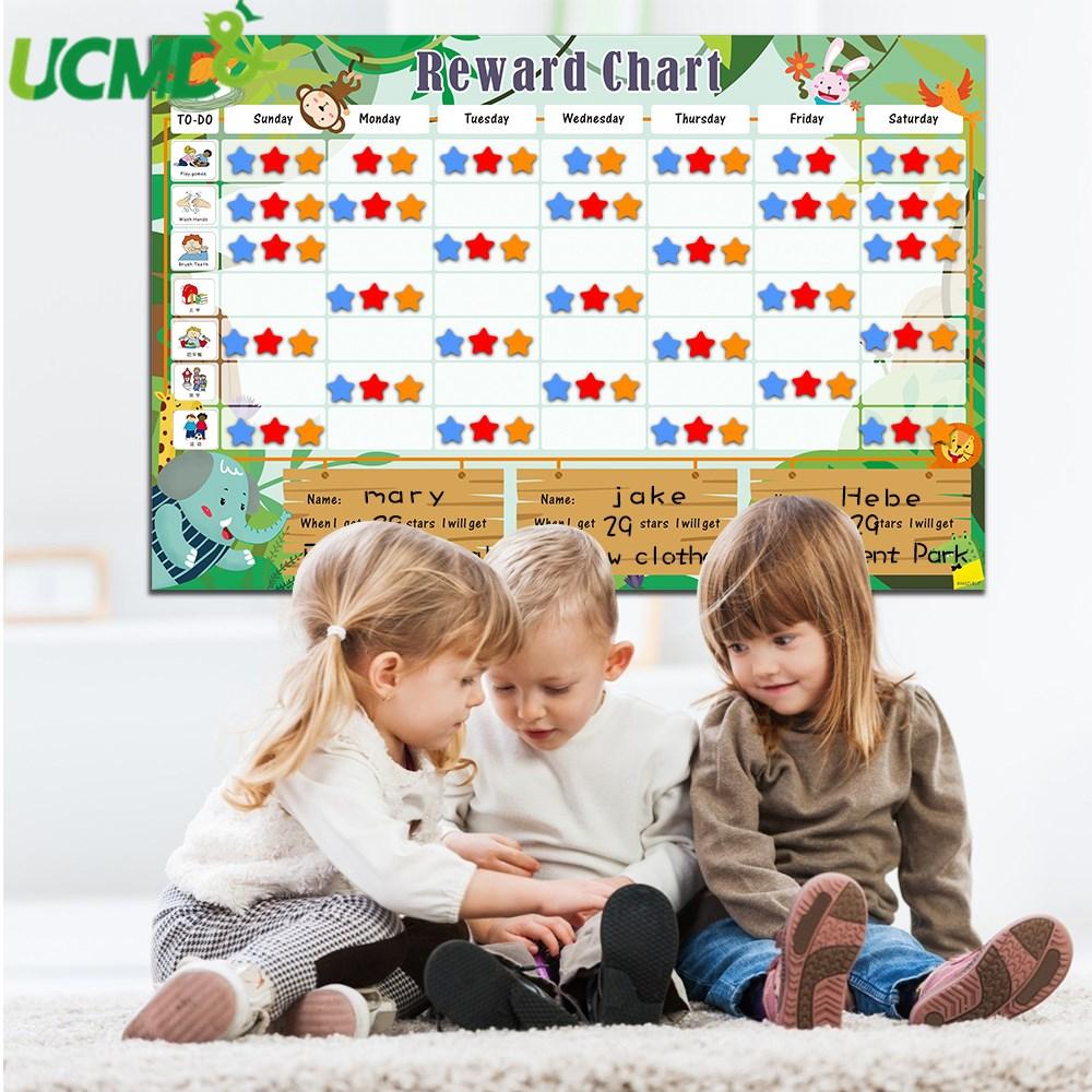 Magnetic Time Schedule Calendar Responsibility Chart Behavior Chore Reward Chart For Multiple Kids Educational Developmental Toy