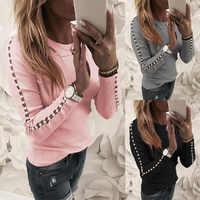 O Neck Long Sleeve Pearl Nail Bead Women Top Hollow out Slim Pink Grey Black Sexy Pull Jumpers Autumn Winter Casual Clothes 2020