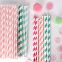 100PCS Wholesale Drinking Paper Straws Stripes Straw Baby Wedding Shower Decoration Gift Party Event Supplies