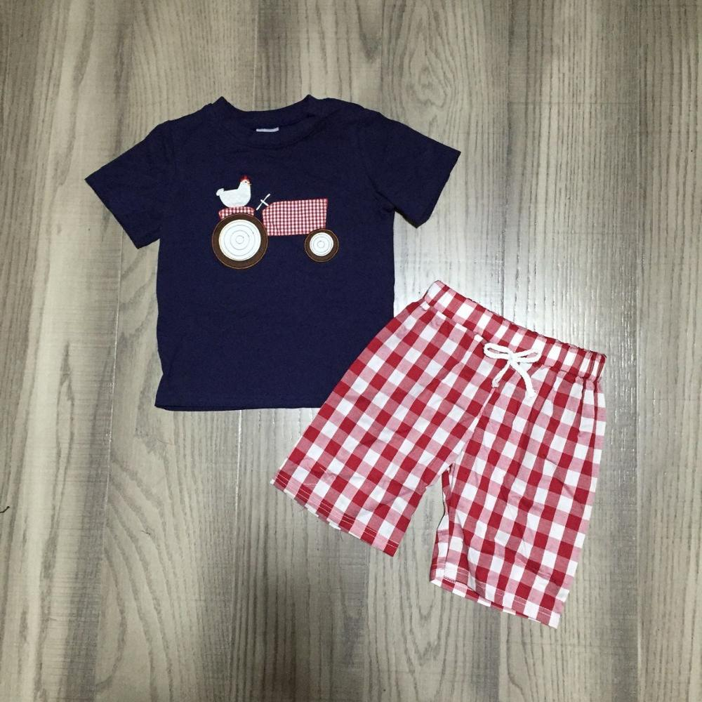 Baby Boy Summer Outfit Boys Farm Clothes Chick Chook Shirt With Red Plaid Shorts Children Farm  Clothing