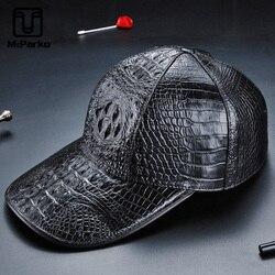 McParko Genuine Leather Baseball Cap Men Sun Hat Fashion Crocodile Hats For Men Hiphop Caps Gothic Croco Hat Winter 2019 Brown
