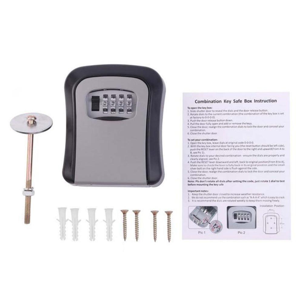 NEW Key Safe Box MetalKey Lock Box Wall Mounted Aluminum Alloy Weatherproof 4 Digit Combination Key Storage Lock Box