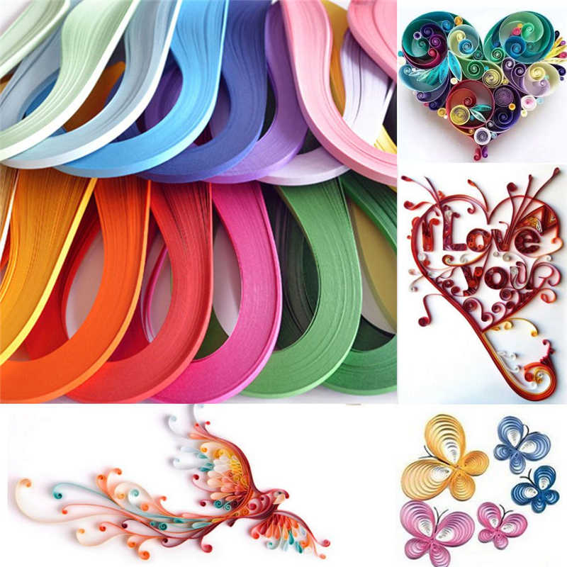 Hot120 Stripes Quilling Paper 3mm Width Solid Color Origami Paper DIY Hand Craft Decoration Pressure Relief Gift Stress Reliever