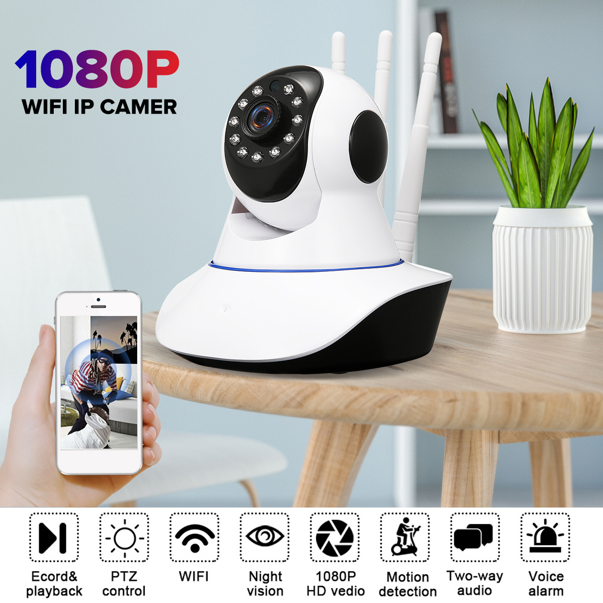 1080P Wireless WIFI IP Camera Home Indoor Security Monitor Smart Network Video System Two Way Audio / Night Vision / PTZ / APP