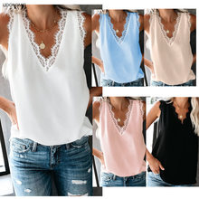 Women's Sexy V-neck Vest Female Summer Lace Stitching Sleeveless Casual Vest Ladies Large Size Loose Comfortable Shirt Femme3502