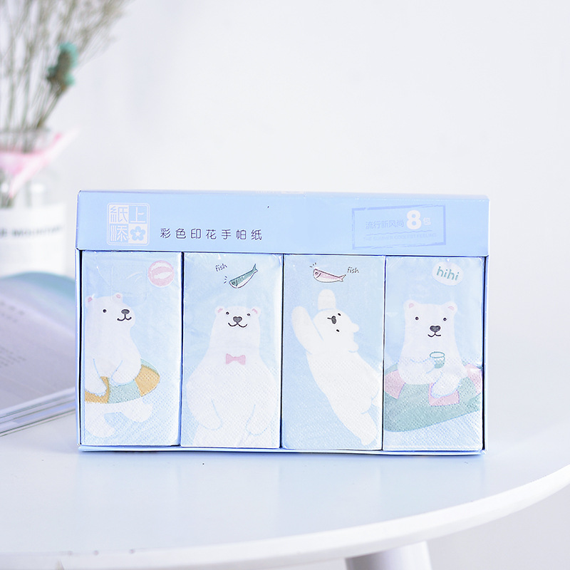 New Style Printed Handkerchief Paper Cute Play With Water Bear Boxed Packet Wipes Unscented Cartoon Kleenex Manufacturers Direct