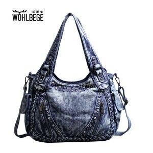 Image 1 - Kadın çantası omuz çapraz çanta büyük kapasiteli büküm rahat elmas Denim çanta