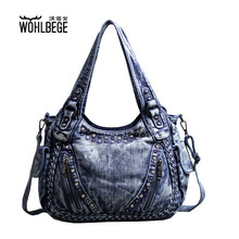 Women Bag Shoulder Diagonal Handbag Large Capacity Twist Casual Diamond Denim Bag