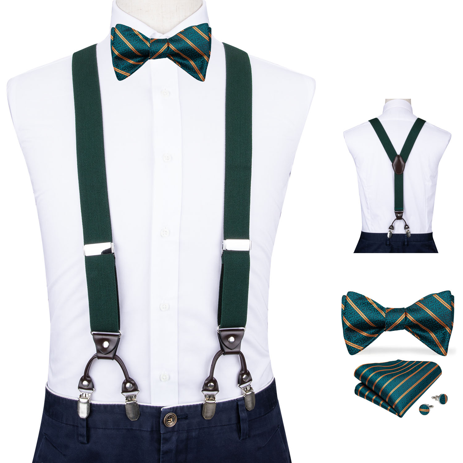Men Dark Green Elastic Suspender Genuine Leather 6 Clips Brace Male Vintage Wedding Party Bow Tie Hanky Cufflinks Set DiBanGu