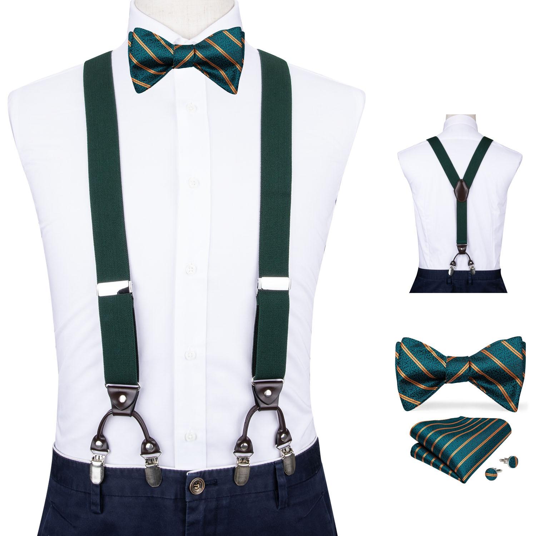 Men Dark Green Elastic Suspender Genuine Leather 6 Clips Brace Male Vintage Wedding Party Bow Tie Hanky Cufflinks Set DiBanGu