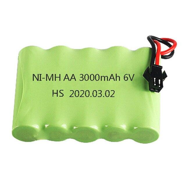 Ni-MH Battery 6v 3000mah SM Plug M model with Charger For Rc toys Cars Tanks Robots Boats Guns AA 2400mah 6 v Battery Pack parts